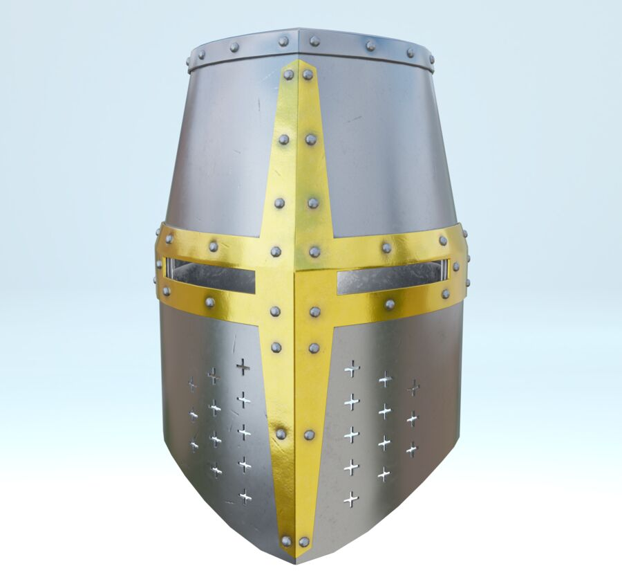 Crusader Helmet royalty-free 3d model - Preview no. 3