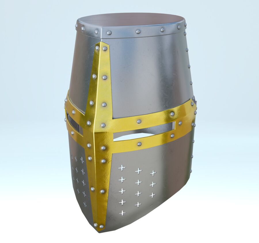 Crusader Helmet royalty-free 3d model - Preview no. 4