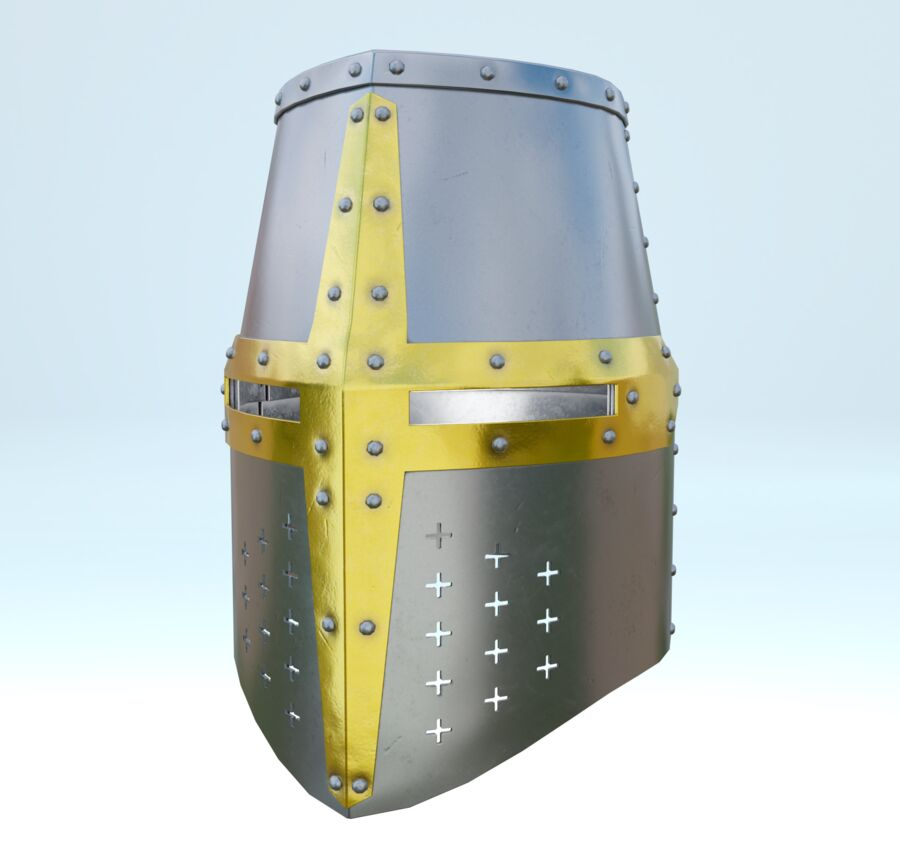 Crusader Helmet royalty-free 3d model - Preview no. 2
