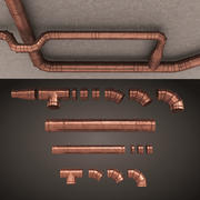 set bronze Air Conditioning Ducting 3d model