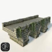 Stone bridge large low poly 3d model