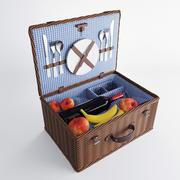 Корзина для пикника с аксессуарами 3d model