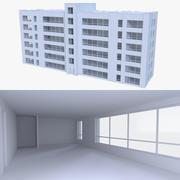 Lägenhet byggnad en med interiör 3d model
