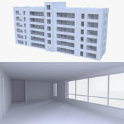 Edificio de apartamentos uno con interior. modelo 3d