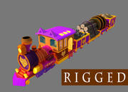 Cartoon_Train_rigged 3d model