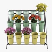 Carrinho de exposição de balde de flores 3d model