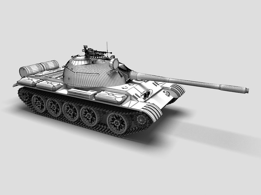 T-55 Tank royalty-free 3d model - Preview no. 7