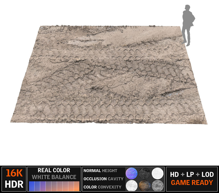 Tire Tracks Scan 16K royalty-free 3d model - Preview no. 1