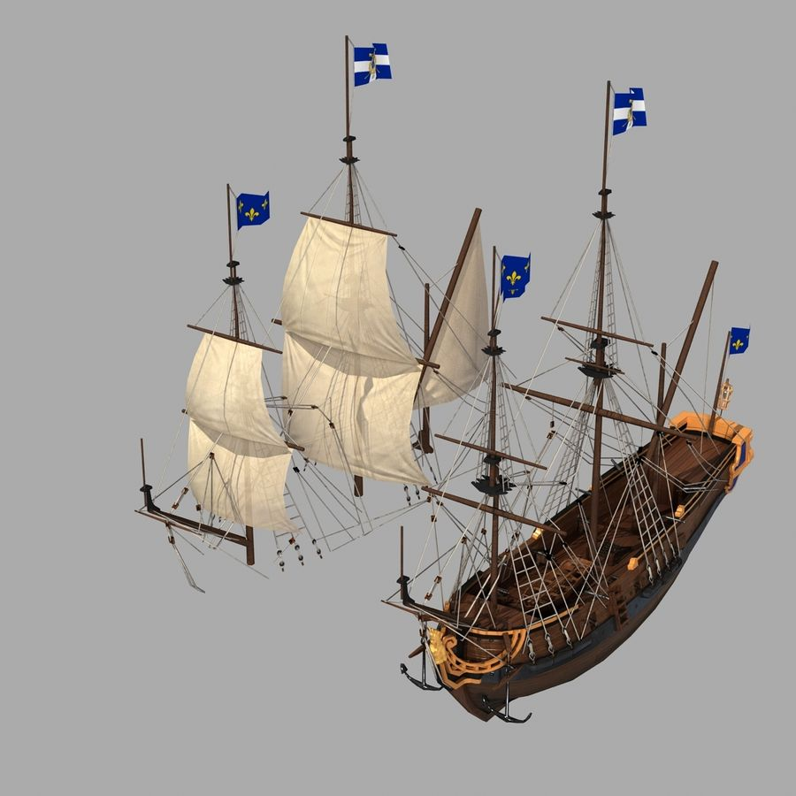 Парусное судно royalty-free 3d model - Preview no. 15