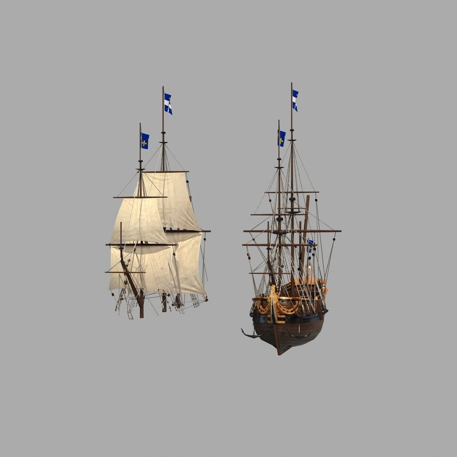 Парусное судно royalty-free 3d model - Preview no. 14