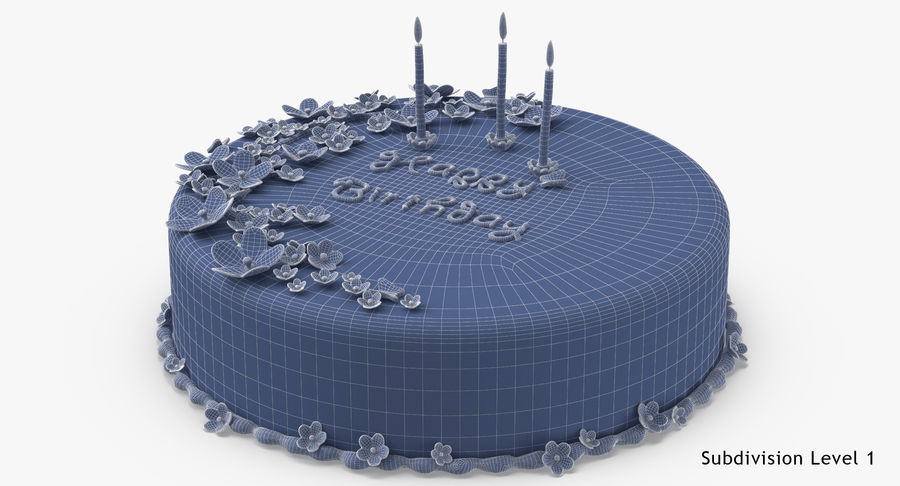 Birthday Cake with Candles 01 royalty-free 3d model - Preview no. 18