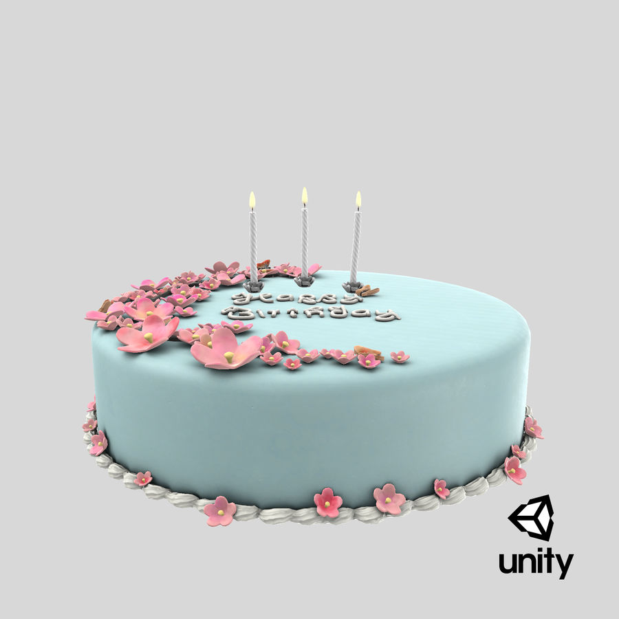 Birthday Cake with Candles 01 royalty-free 3d model - Preview no. 20