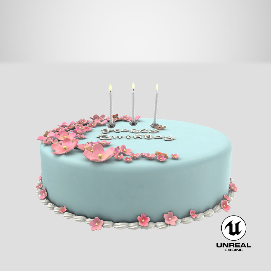 Birthday Cake with Candles 01 royalty-free 3d model - Preview no. 22