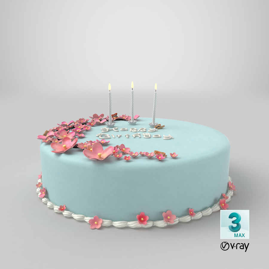 Birthday Cake with Candles 01 royalty-free 3d model - Preview no. 21
