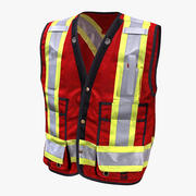 Safety Vest Construction Reflective PPE Red 3d model