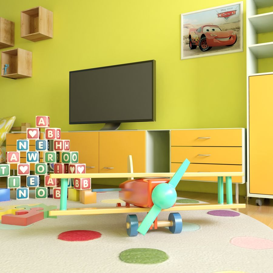 Sypialnia dziecięca royalty-free 3d model - Preview no. 11