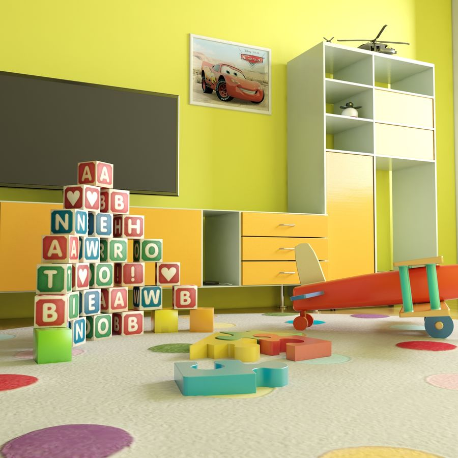 Sypialnia dziecięca royalty-free 3d model - Preview no. 10