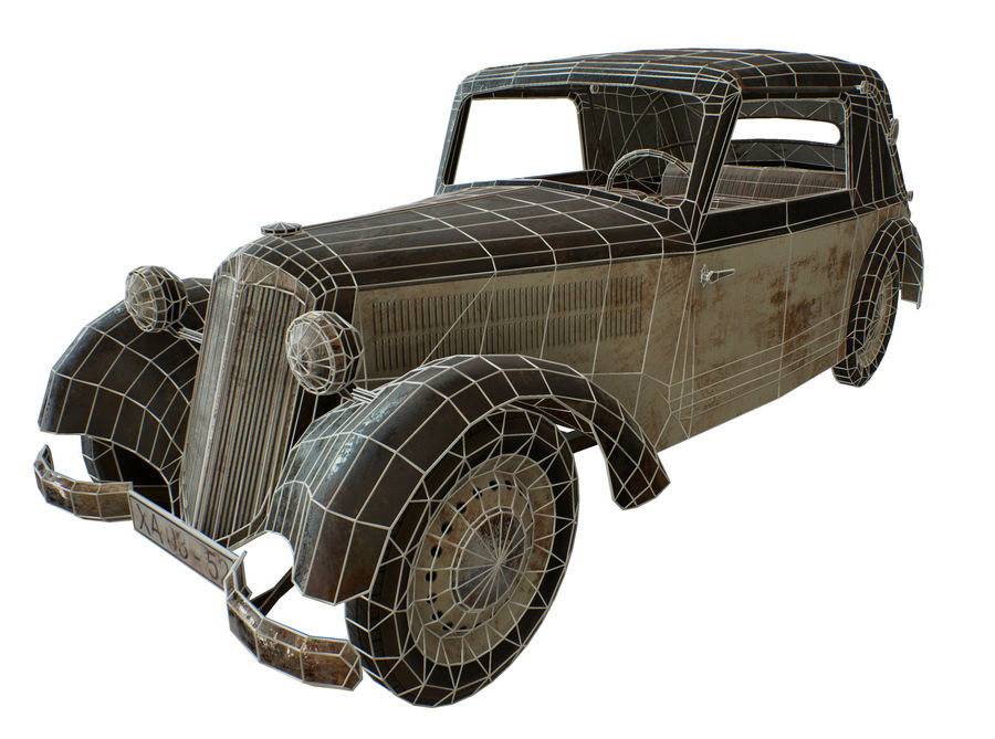 Old rusty german car DKW F8 royalty-free 3d model - Preview no. 14