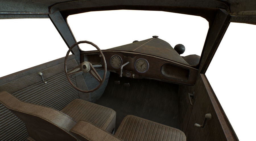 Old rusty german car DKW F8 royalty-free 3d model - Preview no. 22