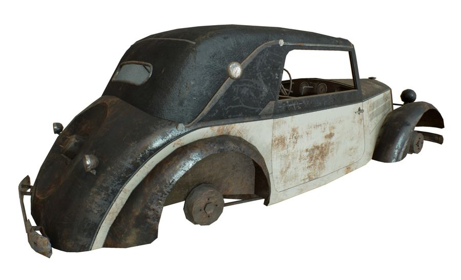 Old rusty german car DKW F8 royalty-free 3d model - Preview no. 18