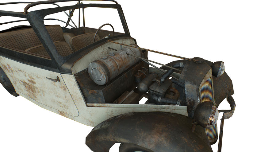 Old rusty german car DKW F8 royalty-free 3d model - Preview no. 12
