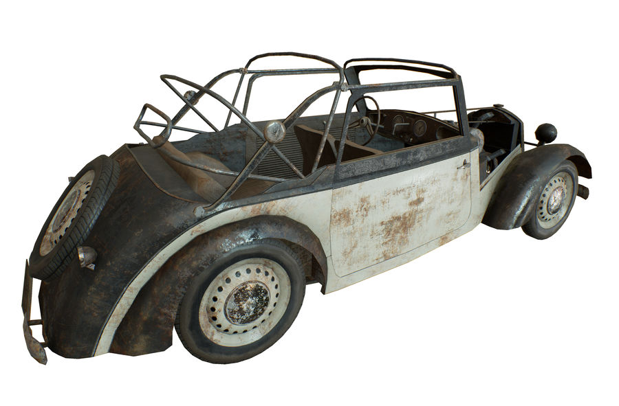 Old rusty german car DKW F8 royalty-free 3d model - Preview no. 11