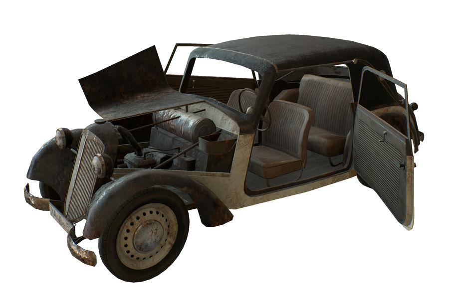 Old rusty german car DKW F8 royalty-free 3d model - Preview no. 8
