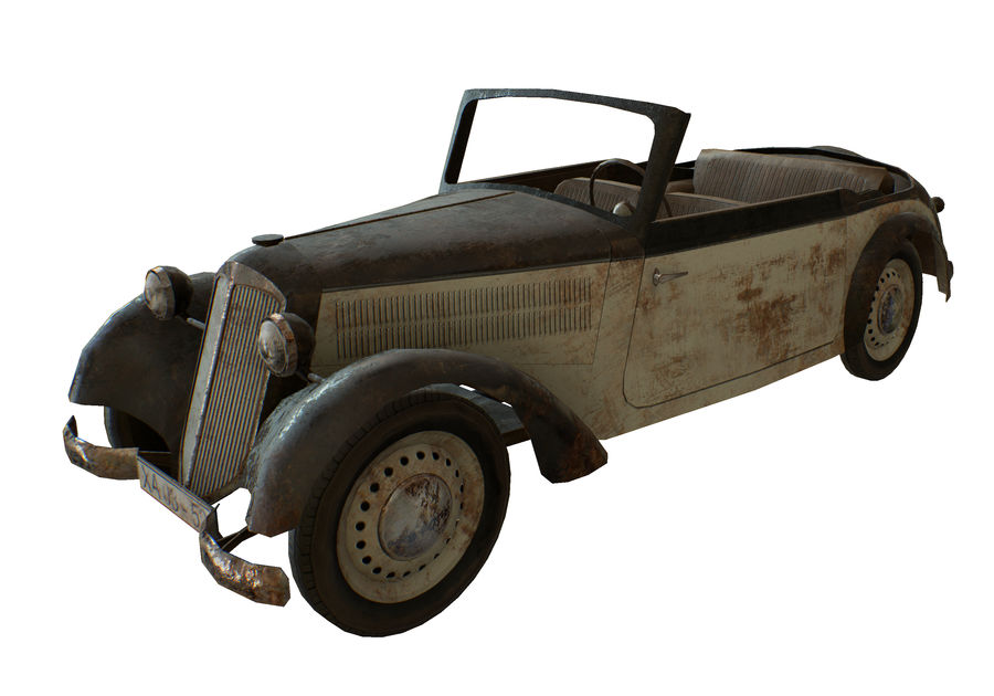 Old rusty german car DKW F8 royalty-free 3d model - Preview no. 9