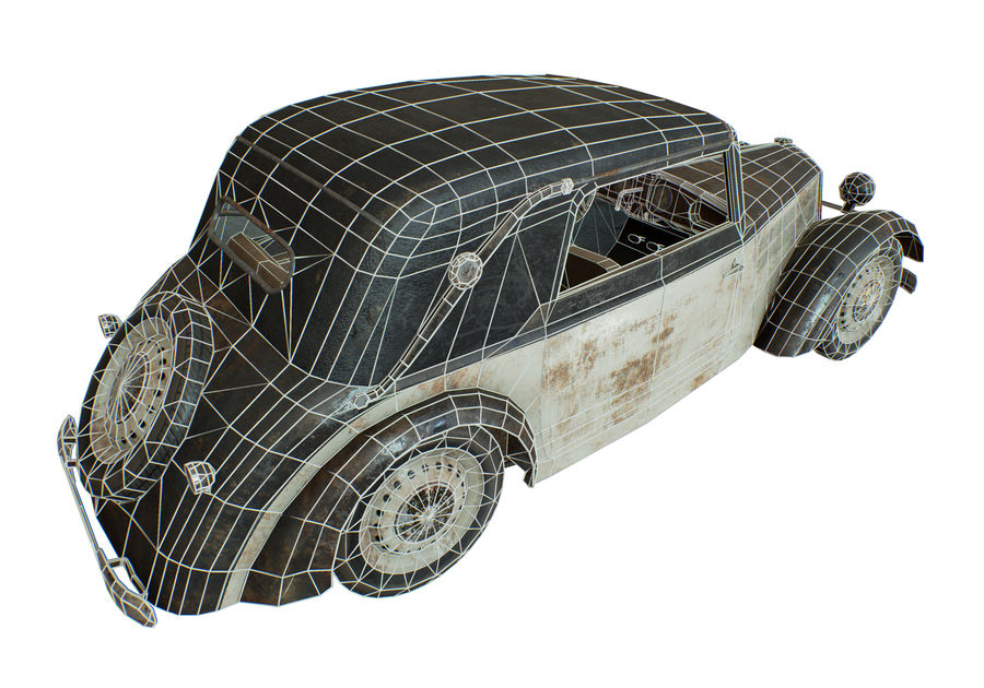 Old rusty german car DKW F8 royalty-free 3d model - Preview no. 15