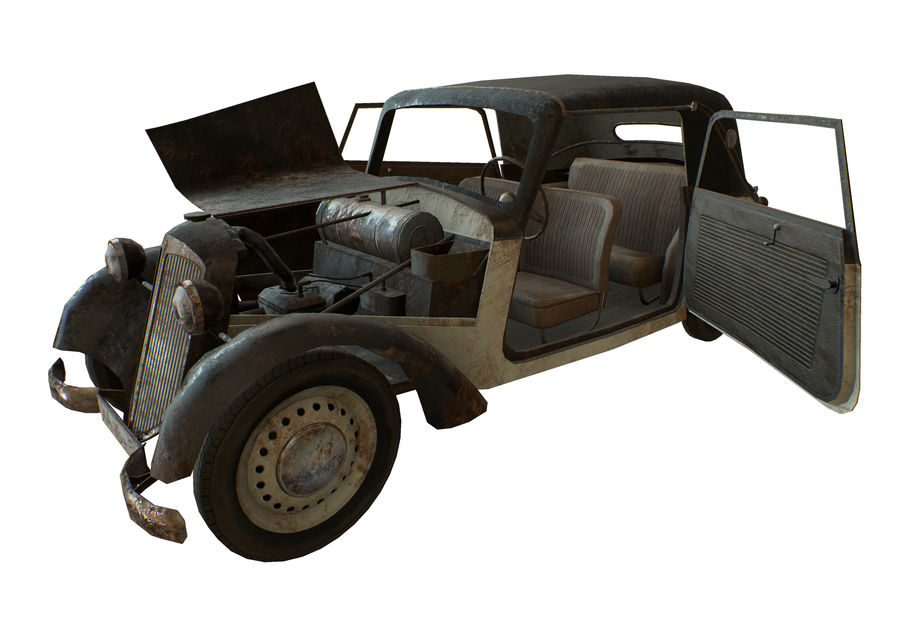 Old rusty german car DKW F8 royalty-free 3d model - Preview no. 5