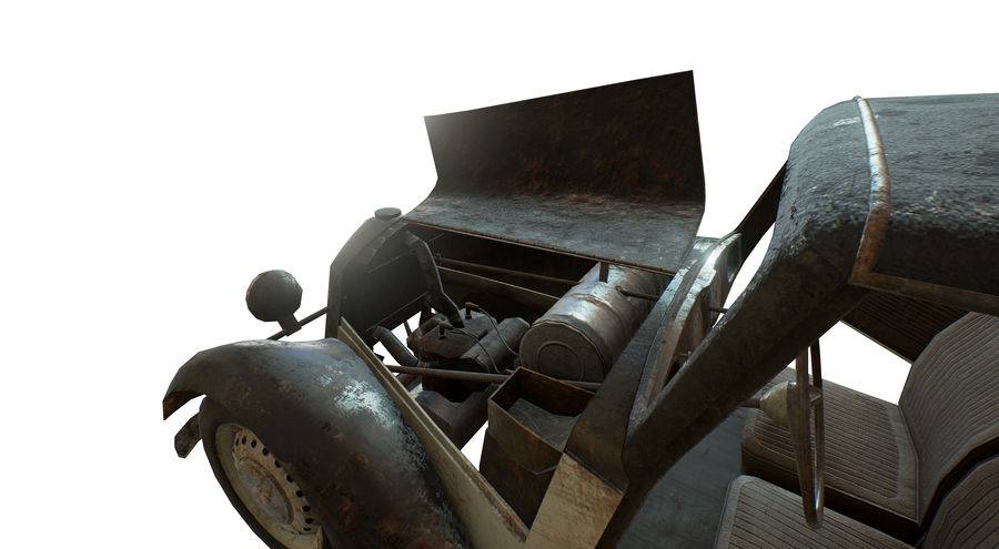 Old rusty german car DKW F8 royalty-free 3d model - Preview no. 6