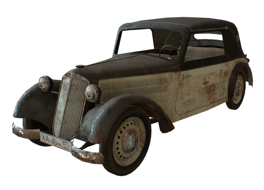 Old rusty german car DKW F8 royalty-free 3d model - Preview no. 1