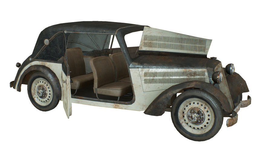 Old rusty german car DKW F8 royalty-free 3d model - Preview no. 7
