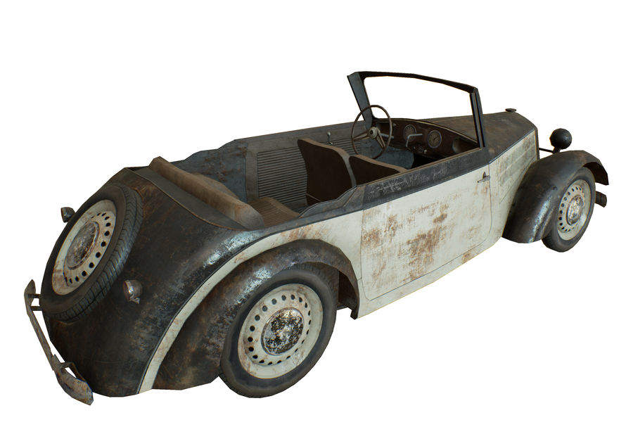 Old rusty german car DKW F8 royalty-free 3d model - Preview no. 10