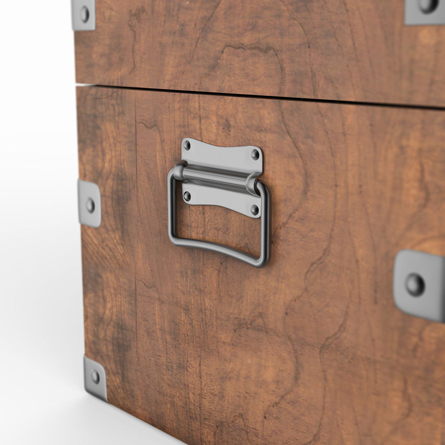 Wooden Chest royalty-free 3d model - Preview no. 7