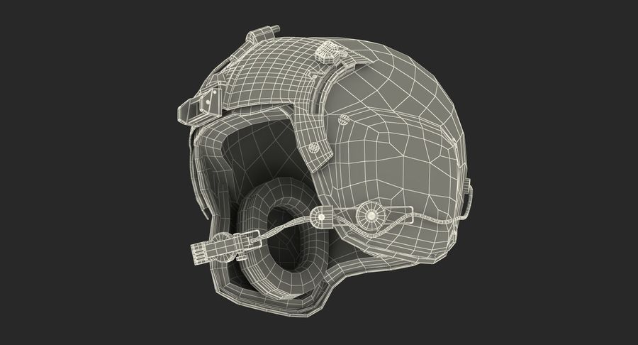 US Helicopter Pilot Helmet royalty-free 3d model - Preview no. 15