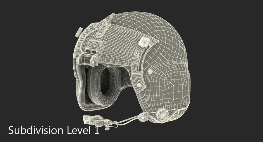 US Helicopter Pilot Helmet royalty-free 3d model - Preview no. 9