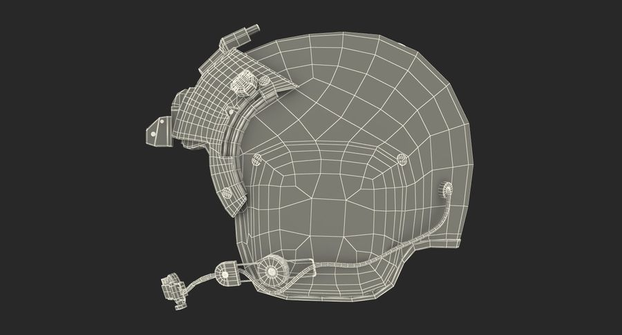 US Helicopter Pilot Helmet royalty-free 3d model - Preview no. 13