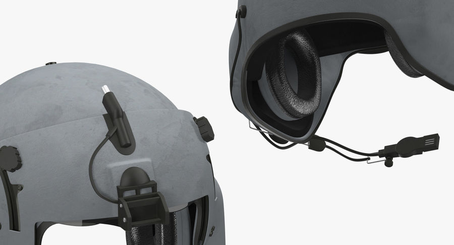 US Helicopter Pilot Helmet royalty-free 3d model - Preview no. 7