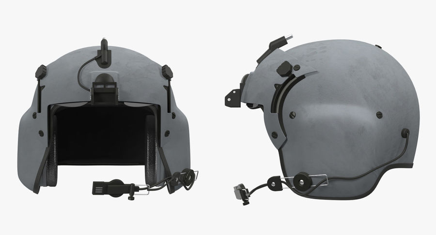 US Helicopter Pilot Helmet royalty-free 3d model - Preview no. 3