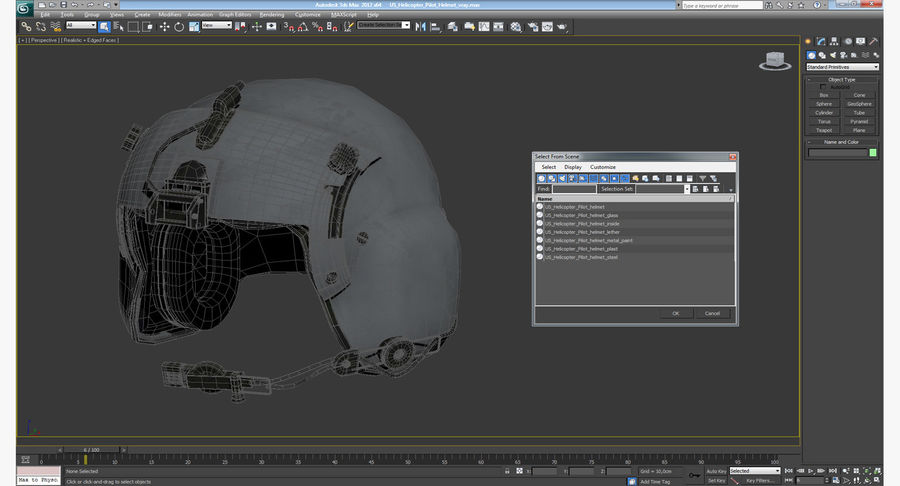 US Helicopter Pilot Helmet royalty-free 3d model - Preview no. 12