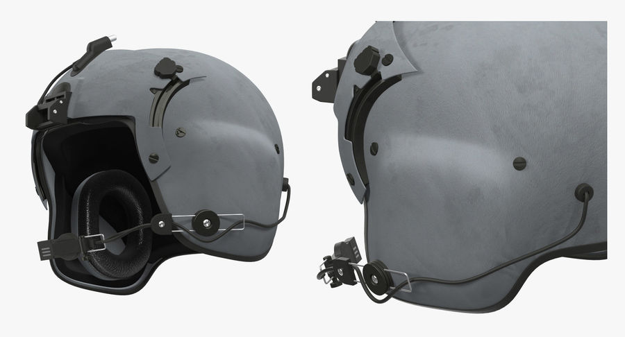 US Helicopter Pilot Helmet royalty-free 3d model - Preview no. 5