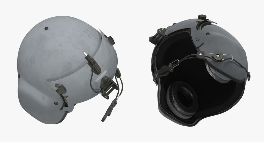 US Helicopter Pilot Helmet royalty-free 3d model - Preview no. 4