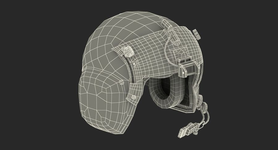 US Helicopter Pilot Helmet royalty-free 3d model - Preview no. 14