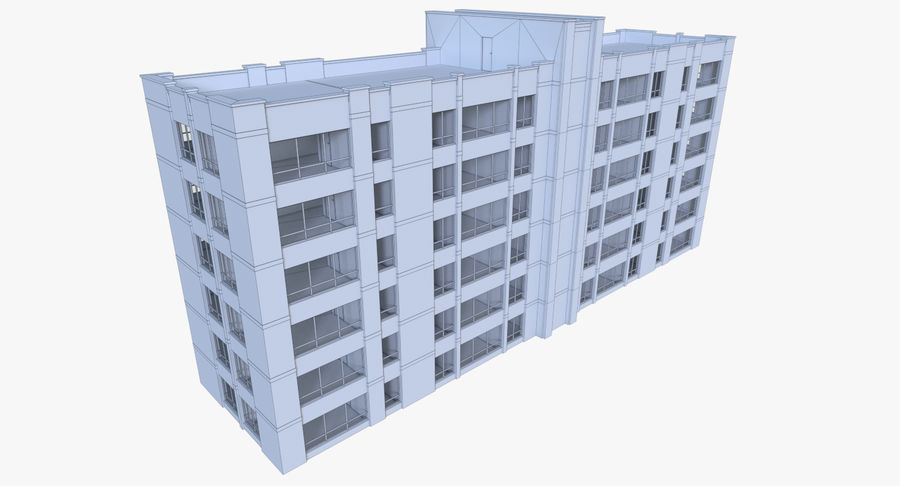 Apartment building one with interior full royalty-free 3d model - Preview no. 16