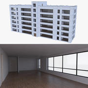 Apartment building one with interior full 3d model
