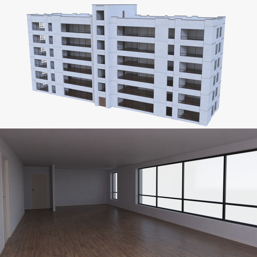 Apartment building one with interior full royalty-free 3d model - Preview no. 1