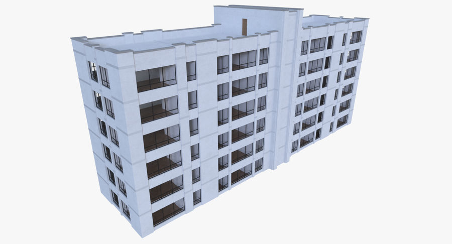 Apartment building one with interior full royalty-free 3d model - Preview no. 5
