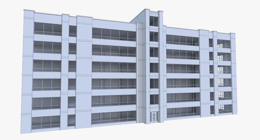 Apartment building one with interior full royalty-free 3d model - Preview no. 13