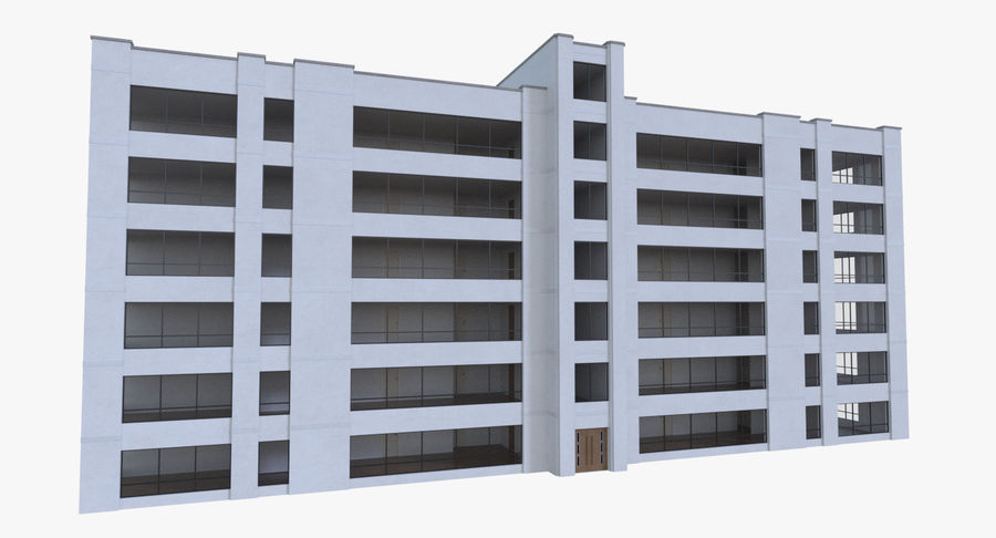 Apartment building one with interior full royalty-free 3d model - Preview no. 2